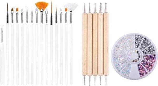 GUAPÀ - Nagel Penselen Set Wit + Rhinestones Parelmoer + Druppel & Dotting Pennen - Nail Art, Acryl & Gel Nagels - 3 Delige Set
