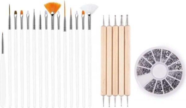 GUAPÀ - Nagel Penselen Set Wit + Rhinestones Zilver + Druppel & Dotting Pennen - Nail Art, Acryl & Gel Nagels - 3 Delige Set