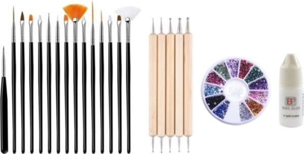 GUAPÀ - Nagel Penselen Set Zwart + Rhinestones Diverse Kleuren + Druppel & Dotting Pennen + Nagellijm - Nail Art, Acryl & Gel Nagels - 4 Delige Set