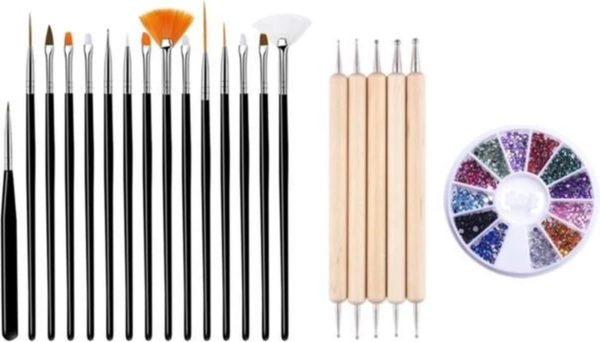 GUAPÀ - Nagel Penselen Set Zwart + Rhinestones Diverse Kleuren + Druppel & Dotting Pennen - Nail Art, Acryl & Gel Nagels - 3 Delige Set