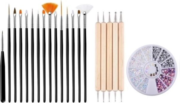 GUAPÀ - Nagel Penselen Set Zwart + Rhinestones Parelmoer + Druppel & Dotting Pennen - Nail Art, Acryl & Gel Nagels - 3 Delige Set