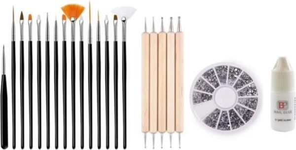 GUAPÀ - Nagel Penselen Set Zwart + Rhinestones Zilver + Druppel & Dotting Pennen + Nagellijm - Nail Art, Acryl & Gel Nagels - 4 Delige Set
