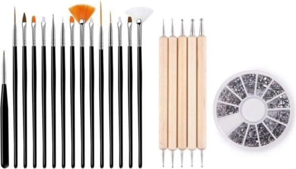 GUAPÀ - Nagel Penselen Set Zwart + Rhinestones Zilver + Druppel & Dotting Pennen - Nail Art, Acryl & Gel Nagels - 3 Delige Set