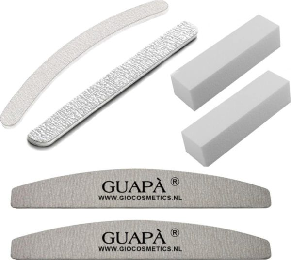 GUAPÀ - Nagel Vijlen Set 6 stuks 100/180 Gritt voor Kunstnagels & Acryl Nagels - High Quality