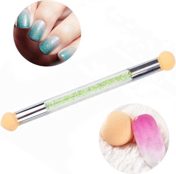 GUAPÀ - Nail Art Blooming Spons & Stempel Penseel voor het maken van Babyboom en Holografisch effecten op je nagels - Kleur Groen
