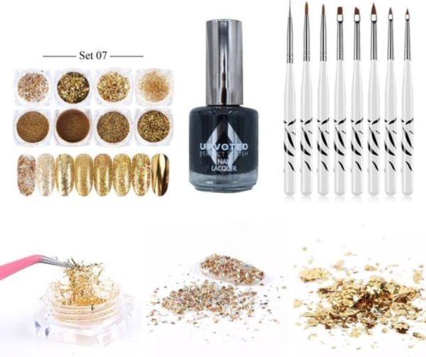 GUAPÀ - Nail Art Glitter Poeder Nagellak & Penselen Set - Goud Nagel Versiering + Zwarte Nagellak