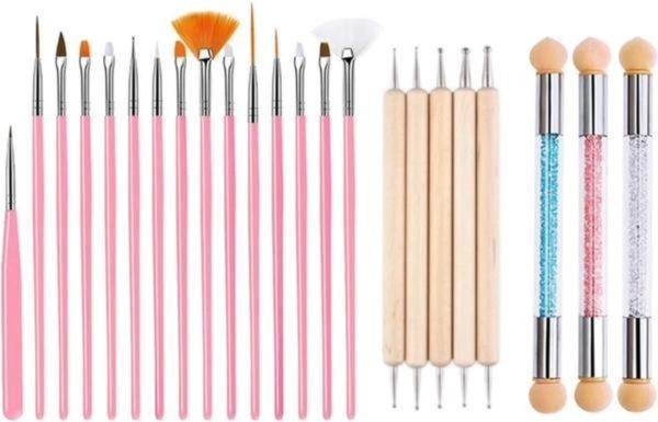 GUAPÀ Nail Art Penselen Set Deluxe voor het maken van prachtige versierde nagels - 23 Penselen High Quality
