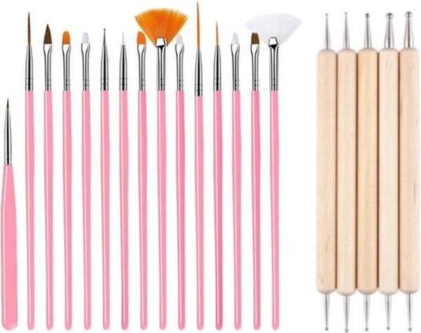 GUAPÀ - Nail Art Set Penselen Roze met Houten Dotting Tools - High Quality