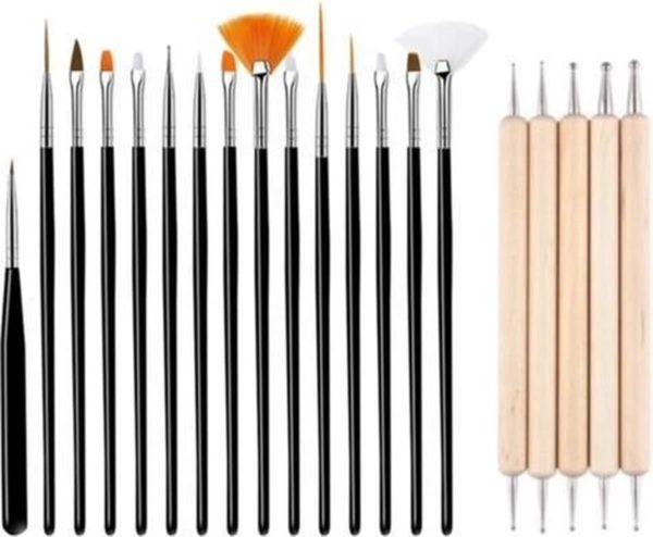 GUAPÀ - Nail Art Set Penselen Zwart met Houten Dotting Tools - High Quality