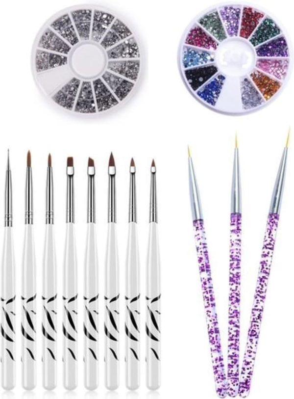 GUAPÀ - Nail Art Set met Glitters en Penselen voor het creëren van prachtige nagels - High Quality - 13 stuks