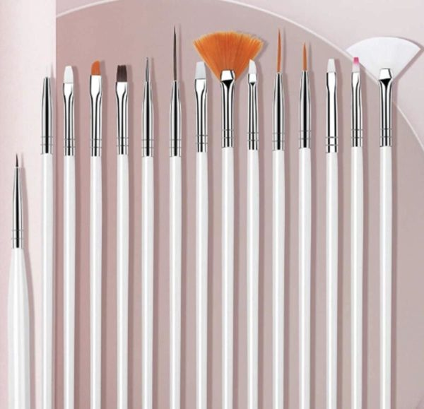 GUAPÀ - Penselen Set Wit voor Nail Art / Acryl & Gel Nagels - Professional Nail Brushes - 15 Delig