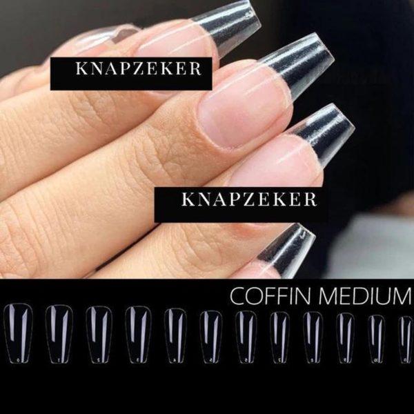 Gel Tips Nail Extension Full Cover medium Coffin Ballerina False Tips nepnagels 120ps Fake nails- Nageltips Transparant / Clear Tips + lijm nail glue + nagelvijl