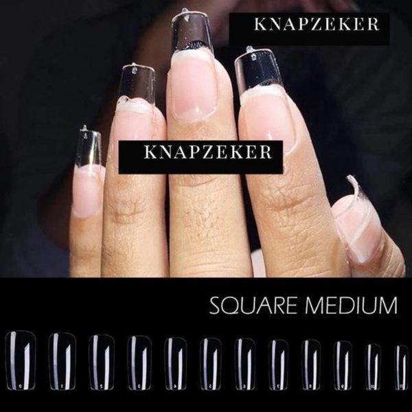 Gel Tips Nail Extension Full Cover medium Squared square shape nagels False Tips nepnagels plaknagels 120ps Fake nails in 12 sizes - Nageltips Transparant / Clear Tips + nagelvijl