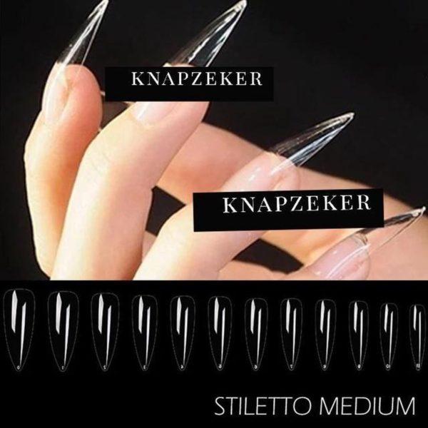 Gel Tips Nail Extension Full Cover medium Stiletto nagels False Tips nepnagels 120ps Fake nails- Nageltips Transparant / Clear Tips + nagelvijl + lijm 7ml. Brush on nail glue