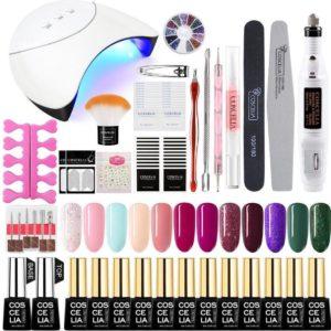 Gellak starterspakket - gellak - gelnagel kit - UV lamp 36W - LED - Manicure set - 12 kleuren gel polish - Nail art - Nagellamp - Nagelboor - Nageldroger - Nagellak
