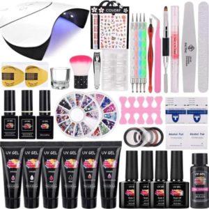 Gelnagels Set | Polygel kit | Nepnagels | Nail Art Pakket | 15Ml 6 Kleuren Builder Gel | Crystal Gel | UV Gel | Manicure Set | Gel Nagellak Nagel Decoratie | UV Lamp | Starterspakket | Nail Care |