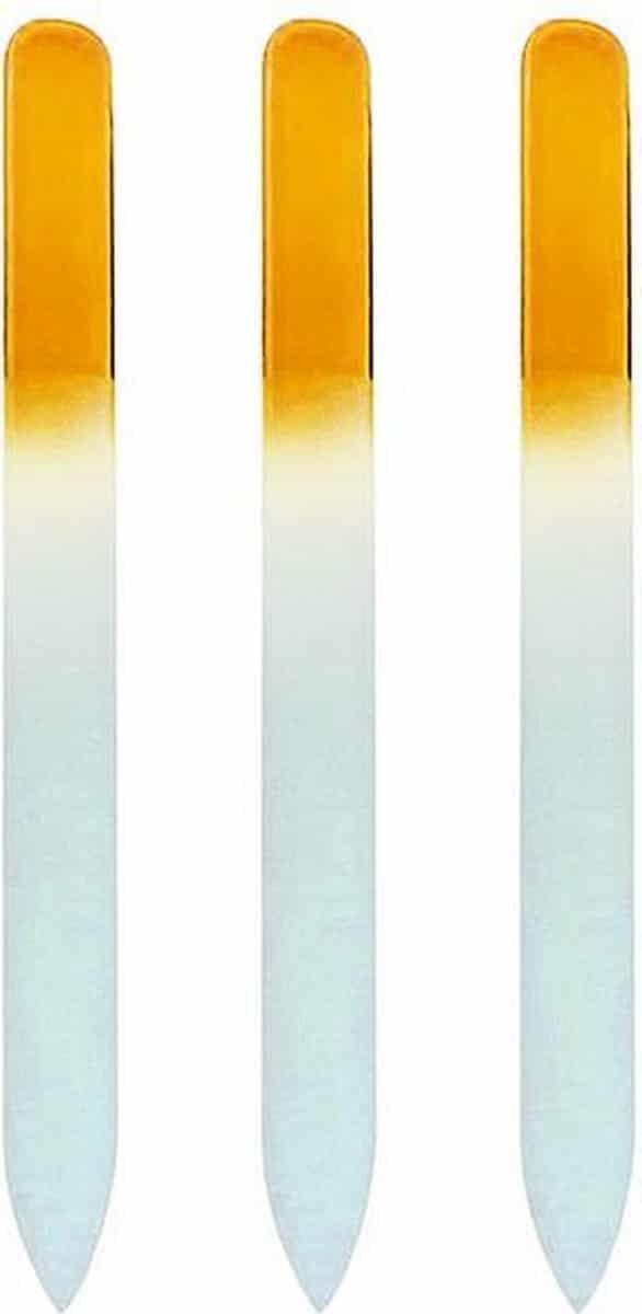 Glazen Nagelvijl Geel - 3 Stuks - Glasvijl - Manicure - oDaani