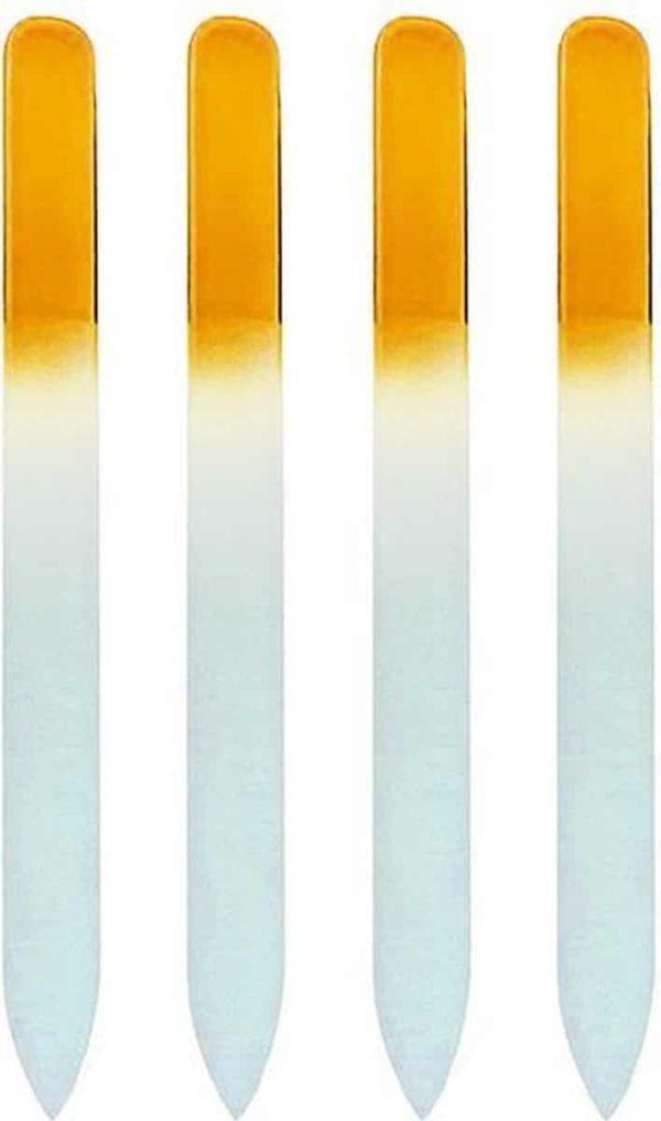 Glazen Nagelvijl Geel - 4 Stuks - Glasvijl - Manicure - oDaani