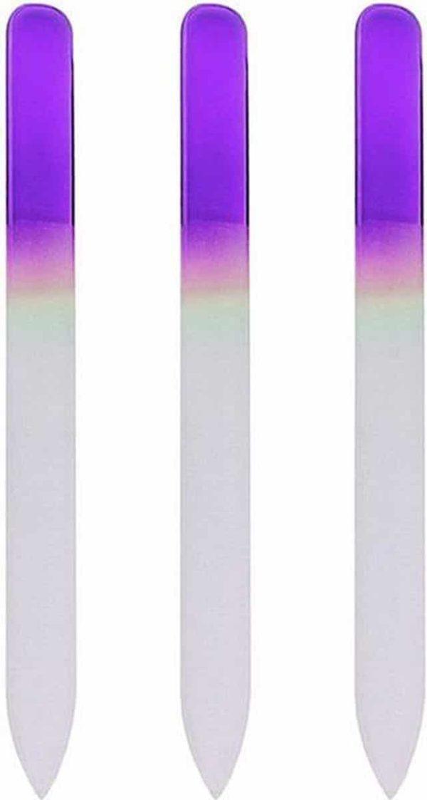 Glazen Nagelvijl Paars - 3 Stuks - Glasvijl - Manicure - oDaani