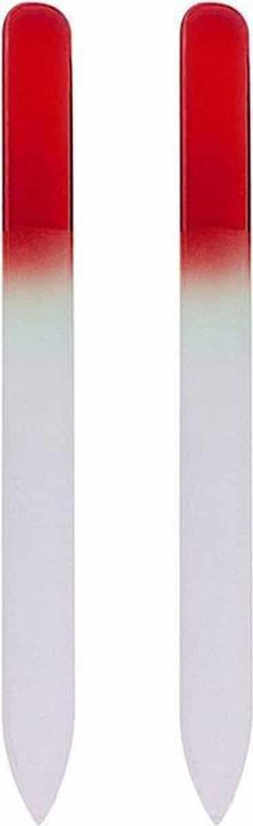 Glazen Nagelvijl Rood - 2 Stuks - Glasvijl - Manicure - oDaani