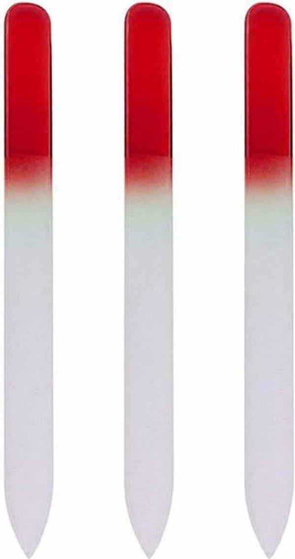 Glazen Nagelvijl Rood - 3 Stuks - Glasvijl - Manicure - oDaani