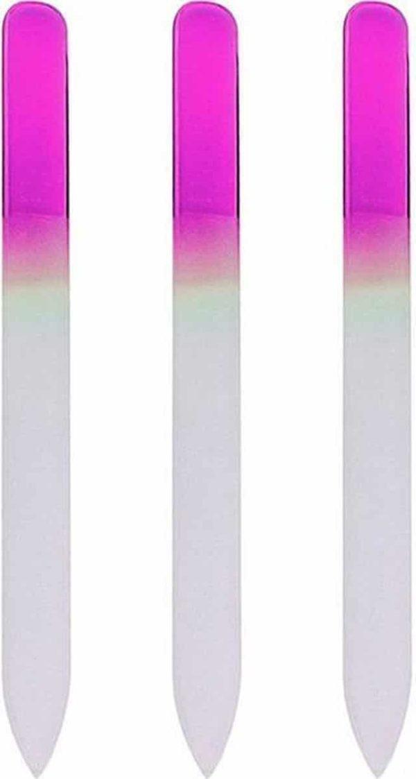 Glazen Nagelvijl Roze - 3 Stuks - Glasvijl - Manicure - oDaani