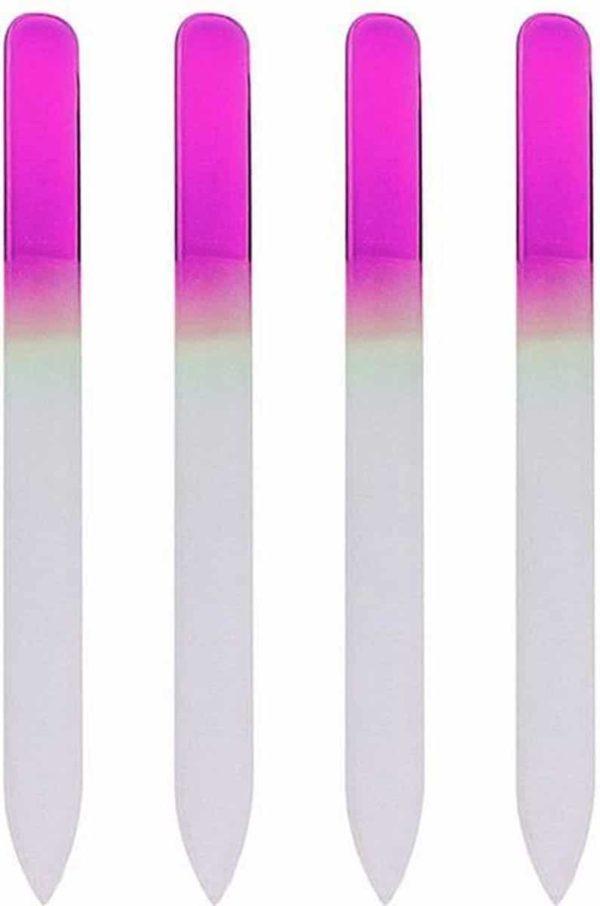 Glazen Nagelvijl Roze - 4 Stuks - Glasvijl - Manicure - oDaani