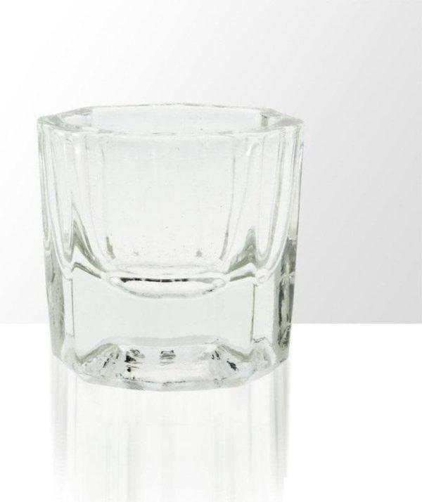 Glazen dappenglaasje, glaasje voor acryl liquid, dappendish voor liquid, dappendish acryl liquid nagels