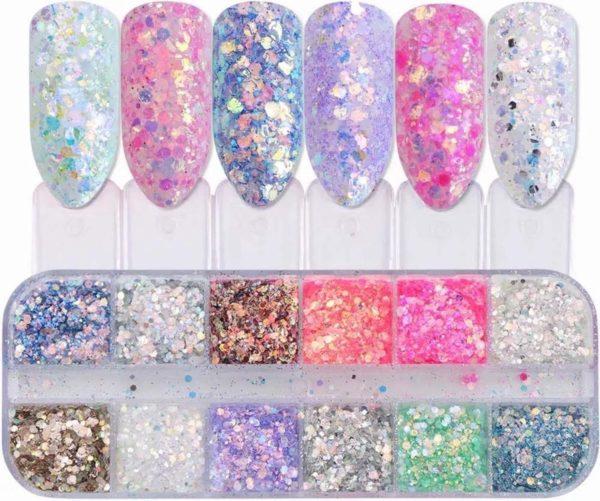 Glitter Poeder Nail Art Set - 12 Stuks - Diverse Kleuren - Nagel Decoratie Strass