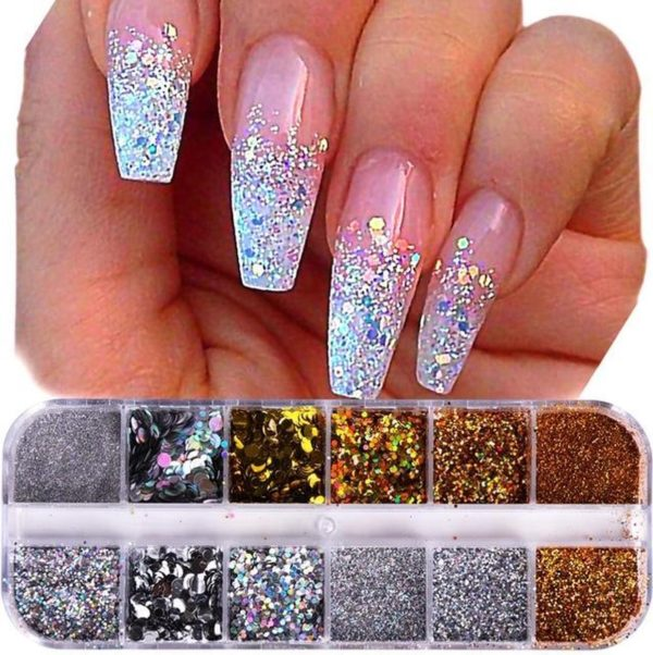 Glitter Poeder Nail Art Set - 12 Stuks - Goud / Zilver / Brons - Nagel Decoratie Strass