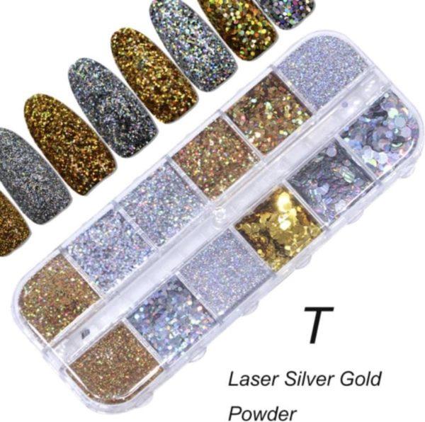 Glitter Poeder Nail Art Set - 12 Stuks - Goud / Zilver - Nagel Decoratie Strass