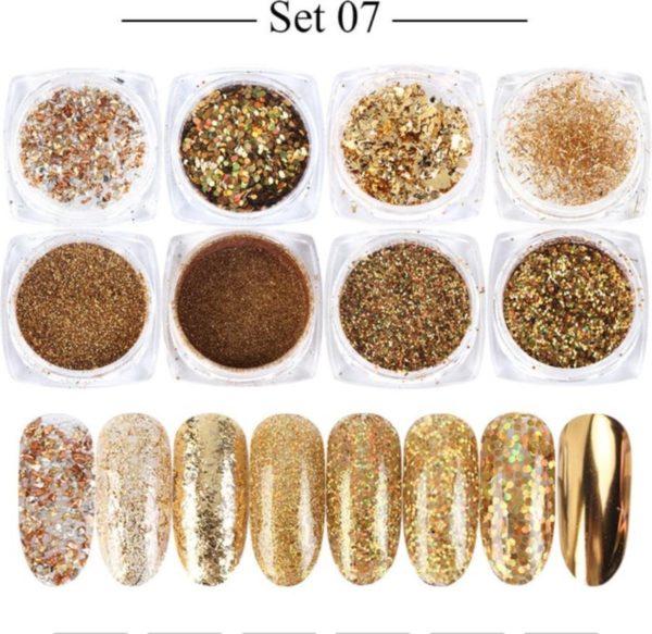 Glitter Poeder Nail Art Set - 8 Stuks - Goud / Chroom / Brons - Nagel Decoratie Strass
