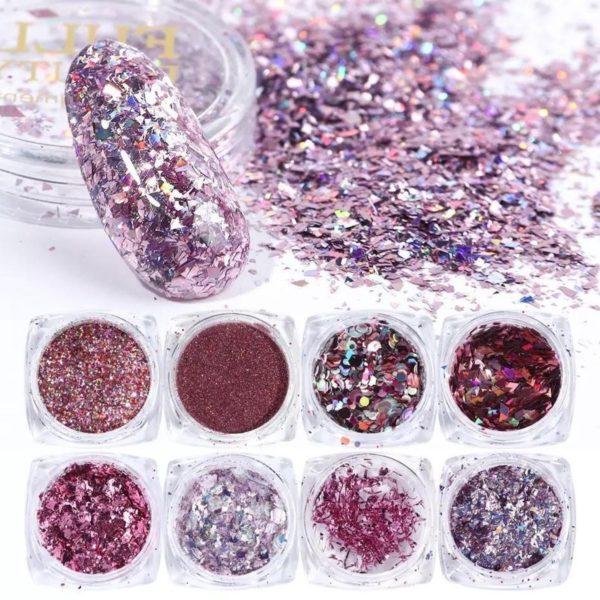 Glitter Poeder Nail Art Set - 8 Stuks - Rosé / Zilver / Roze / Glinster - Nagel Decoratie Strass