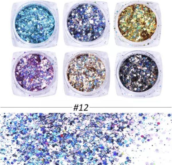 Glitter Poeder Strass 6 stuks - Diverse Kleuren - Nail Art