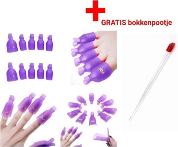 Handen - voeten - gellak- Teennagels - tenen -Nagellak- Remover -Clips- gelpolish - Gelnagellak-Vinger -Nagel- nagels- Clips -klemmetjes - Shellac - Soak Off - Nailclips - Acryl - Gel - Nagellak - manicure- pedicure -20 stuks - knijper Set