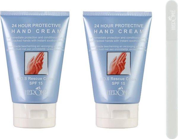 Herome 24 Hours Protective Hand Cream Met Gratis Glass Nail File Travelsize - 2x80ml Voordeelverpakking - Verzachtende Handcrème - Voor Droge en Ruwe Handen - Bewezen Resultaat Binnen Twee Weken