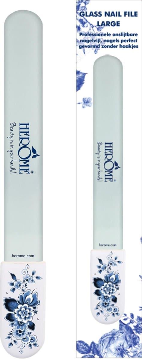 Herome Glazen Nagelvijl met Delfts Blauw handvat (Glass Nail File) -1st.- Onslijtbare Nagelvijl - Voorkomt Splijten en Haakjes