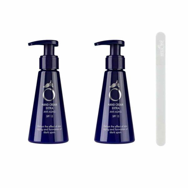 Herome Hand Cream Extra Anti Ageing Met Gratis Glass Nail File Travelsize - 2x120ml Voordeelverpakking - Handcrème Voor De Rijpere Huid Met Handige Pomp