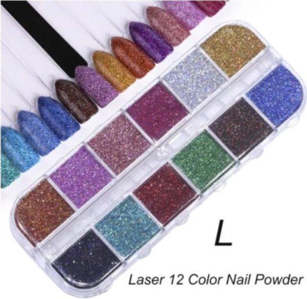 Holografische Glitter Poeder Nail Art Set - 12 Stuks - Diverse Kleuren - Nagel Decoratie Strass