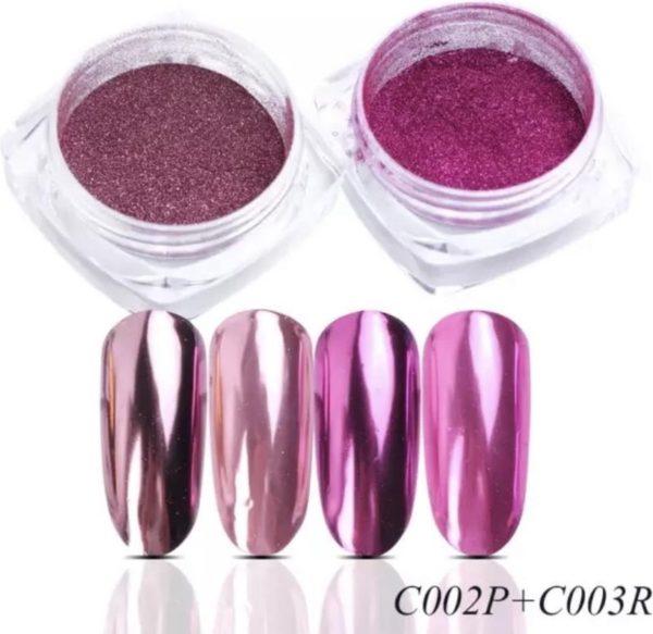 Holografische Glitter Poeder Set - Licht Roze & Donker Roze - Nail Art - Rhinestones - 2 stuks