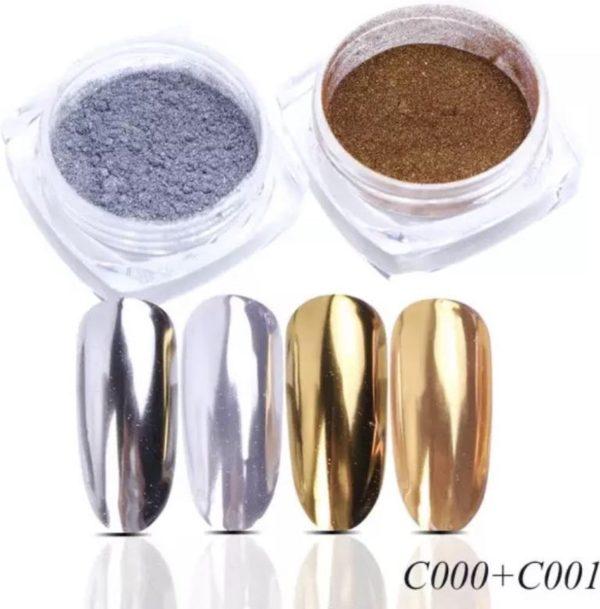 Holografische Glitter Poeder Set Zilver & Goud - Nail Art - Rhinestones - 2 stuks
