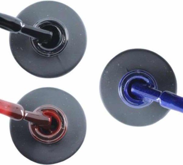 Influence Gellac 3 x 10 ml - BADBLACK & RUBYRED & DENIMBLUE - UV / LED Gellak - Gel nagellak - Gel lak - Zwart Rood / Bordeaux / Donkerrood Blauw