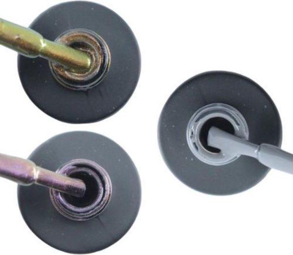 Influence Gellac 3 x 10 ml - CHAMPAGNECATEYE & VIOLETCATEYE & GRUMPYGREY - UV / LED Gellak - Gel nagellak - Gel lak - Bruin Paars / glitter / blauw Grijs