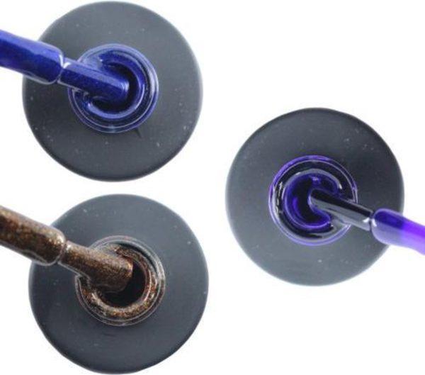 Influence Gellac 3 x 10 ml - DENIMBLUE & BRILLIANTBROWN & PRECIOUSPURPLE - UV / LED Gellak - Gel nagellak - Gel lak - Blauw Bruin / Glitter Paars