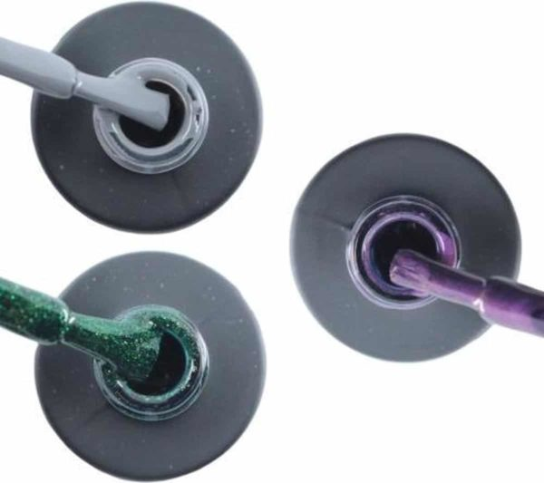 Influence Gellac 3 x 10 ml - GRUMPYGREY & GUILTYGREEN & PASSIONATEPURPLE - UV / LED Gellak - Gel nagellak - Gel lak - Grijs Groen Paars / Glitter / Lila