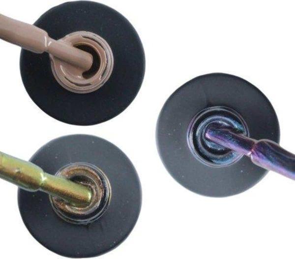 Influence Gellac 3 x 10 ml - NAKEDNUDE & CHAMPAGNECATEYE & NIGHTCATEYE - UV / LED Gellak - Gel nagellak - Gel lak - Nude / Bruin Bruin Blauw / Glitter / Magneet / Groen