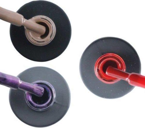 Influence Gellac 3 x 10 ml - NAKEDNUDE & PASSIONATEPURPLE & SASSYRED - UV / LED Gellak - Gel nagellak - Gel lak - Nude / Bruin Paars / Glitter / Lila Rood