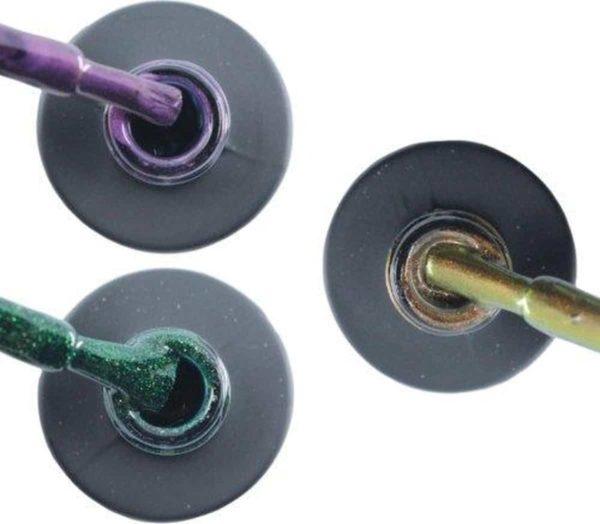 Influence Gellac 3 x 10 ml - PASSIONATEPURPLE & GUILTYGREEN & CHAMPAGNECATEYE - UV / LED Gellak - Gel nagellak - Gel lak - Paars / Glitter / Lila Groen Bruin
