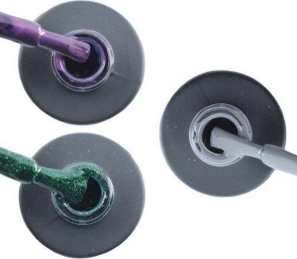 Influence Gellac 3 x 10 ml - PASSIONATEPURPLE & GUILTYGREEN & GRUMPYGREY - UV / LED Gellak - Gel nagellak - Gel lak - Paars / Glitter / Lila Groen Grijs