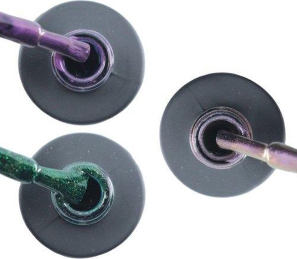 Influence Gellac 3 x 10 ml - PASSIONATEPURPLE & GUILTYGREEN & VIOLETCATEYE - UV / LED Gellak - Gel nagellak - Gel lak - Paars / Glitter / Lila Groen Paars / glitter / blauw